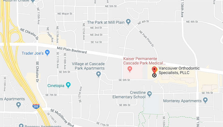 map of Vancouver Orthodontic Specialists, PLLC in Vancouver WA