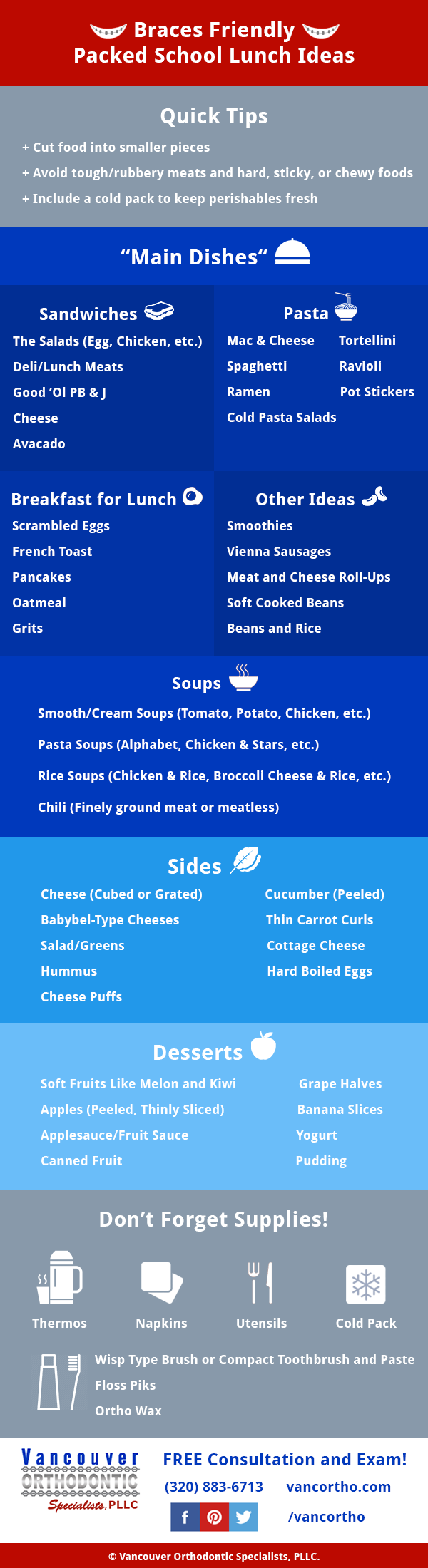 braces friendly packed school lunch ideas infographic by Vancouver Orthodontic Specialists PLLC