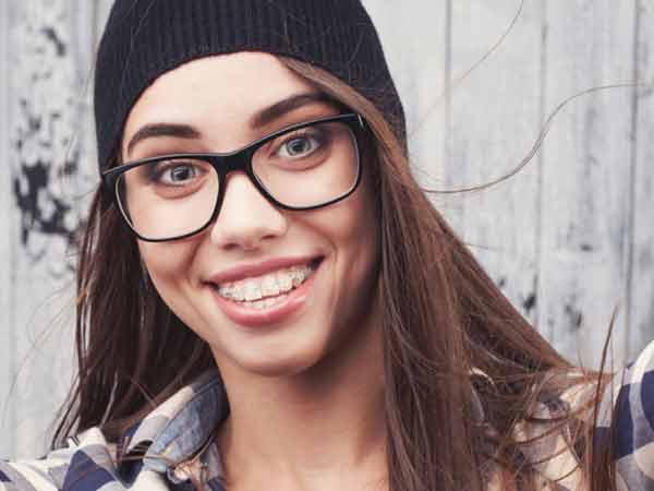Girl wearing clear braces