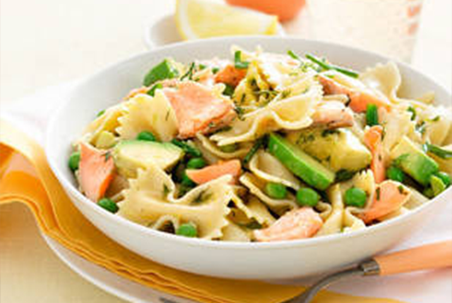 Braces friendly recipe-Salmon, pea, and avocado pasta salad.