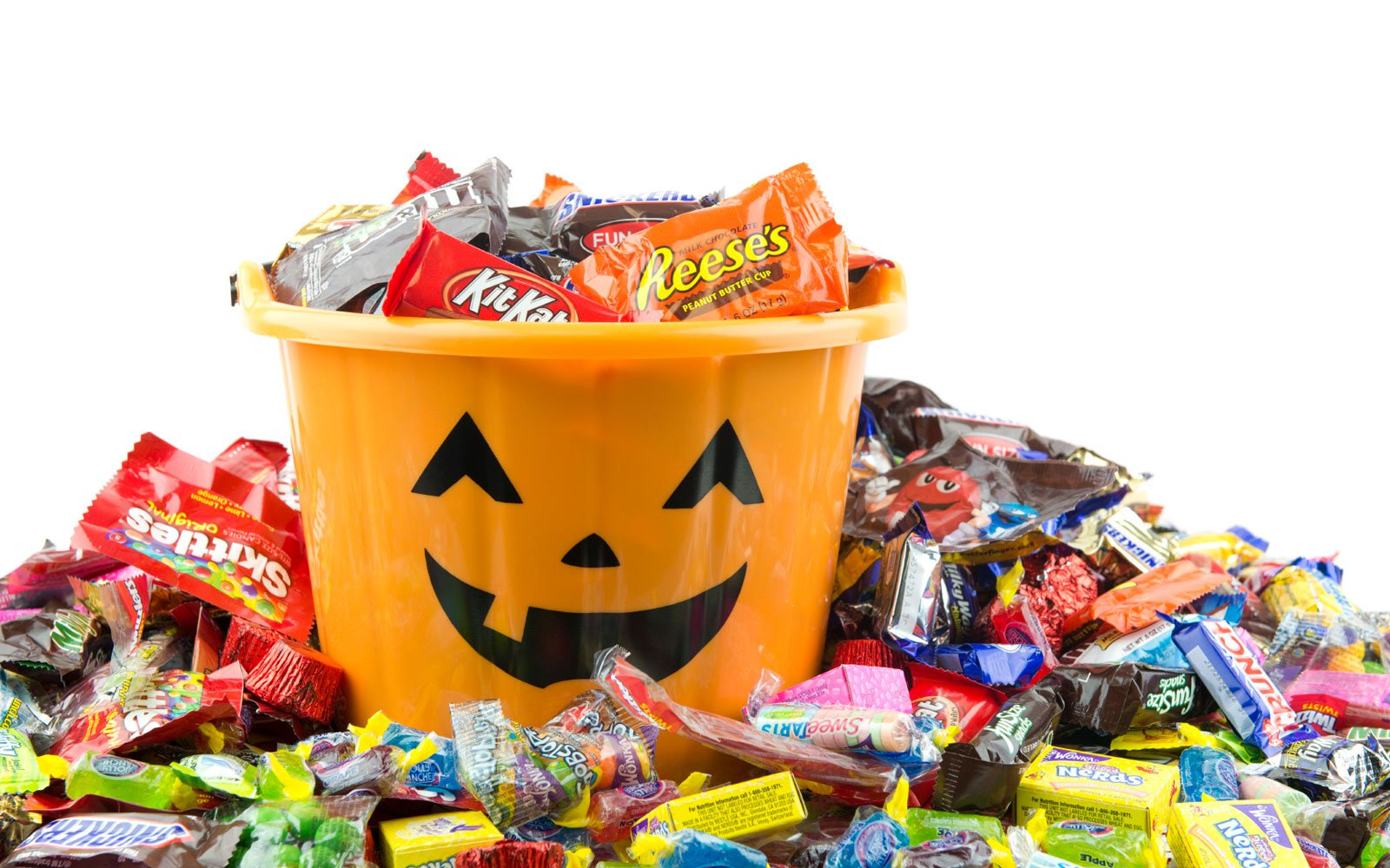Halloween bucket overflowing with candy