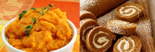 Mashed Chipotle Sweet Potatoes and Pumpkin Roll