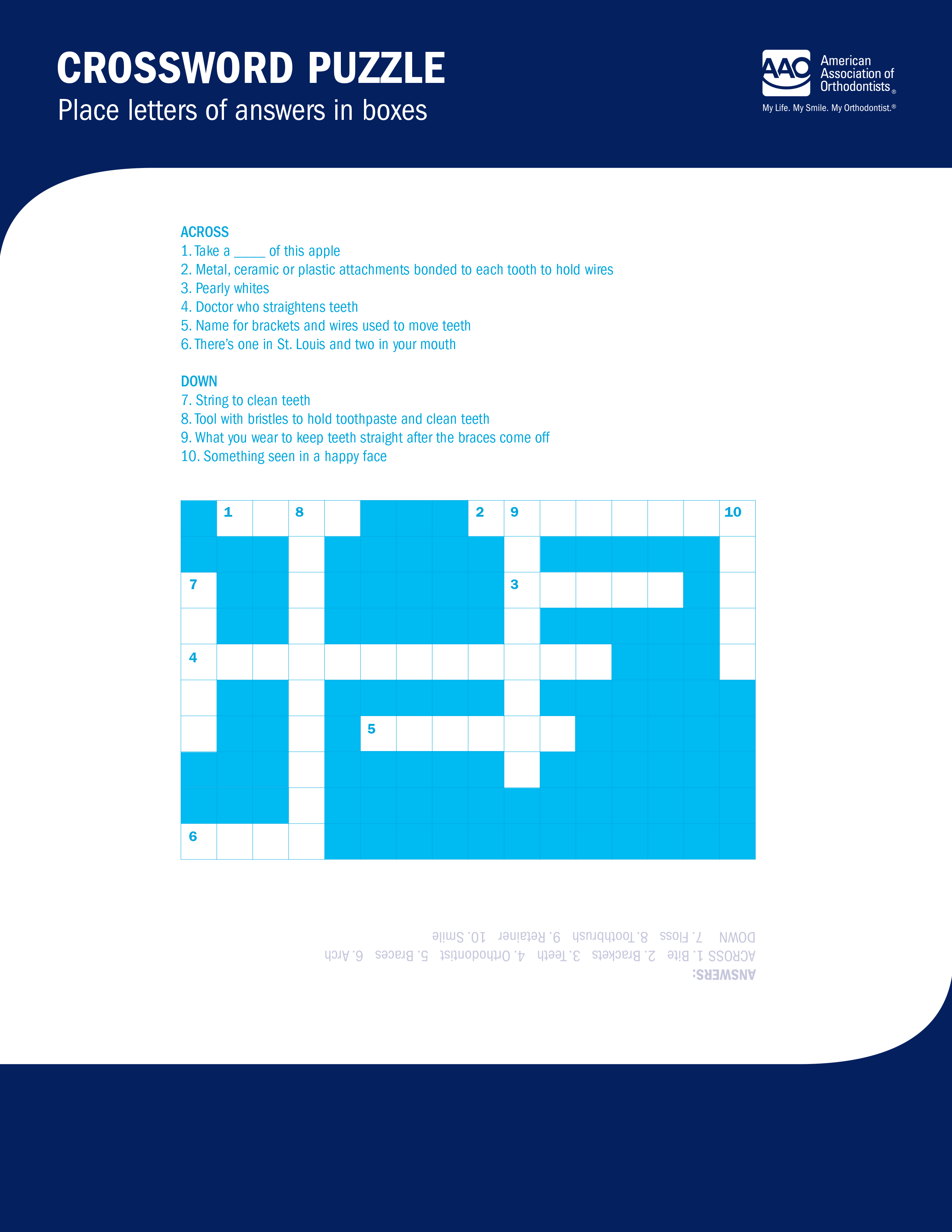 ortho themed crossword puzzle for kids