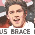 Stylized image of Emma Watson, Niall Horan and Gwen Stefani wearing braces