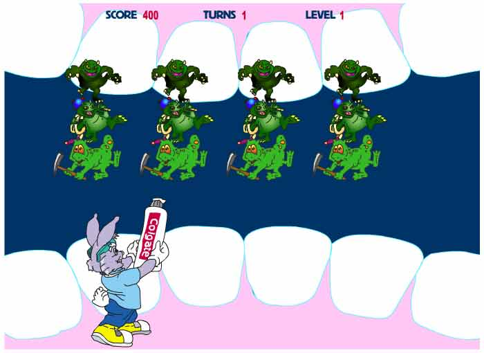 Dr. Rabbit fighting plaque monsters