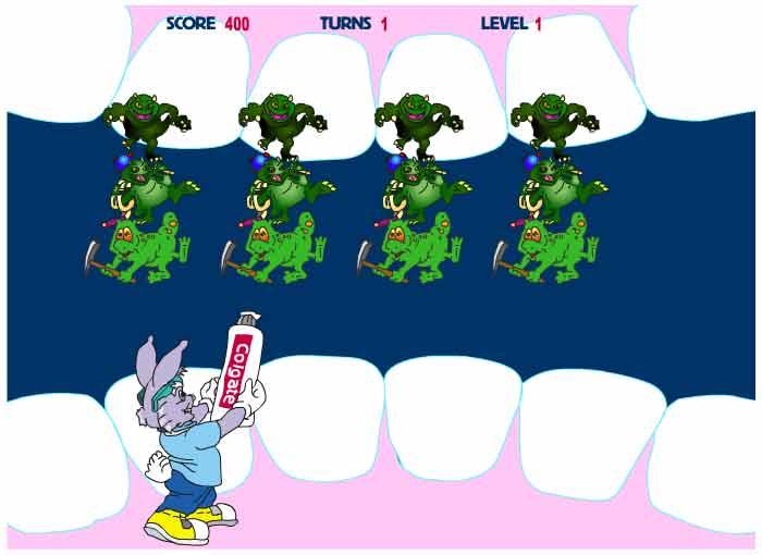 Dr. Rabbit fighting plaque monsters