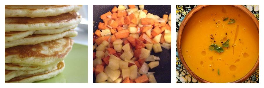 Braces friendly apple pancakes, apple sweet potato hash and apple carrot ginger soup recipes