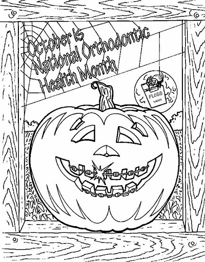 free ortho themed coloring sheet with spider and web