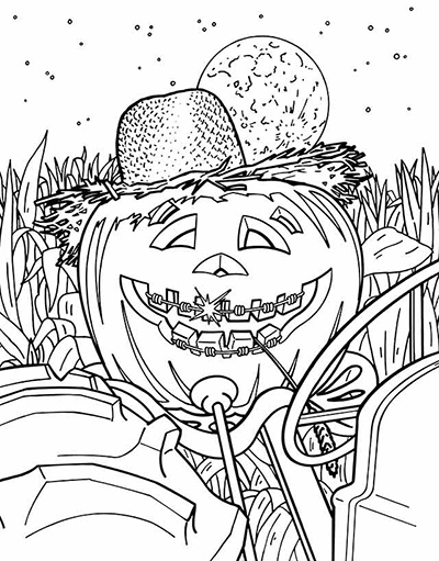free tractor halloween coloring sheet download