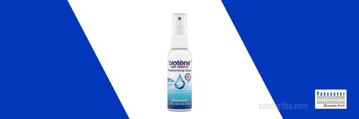Image of biotene spray to relieve dry mouth from braces