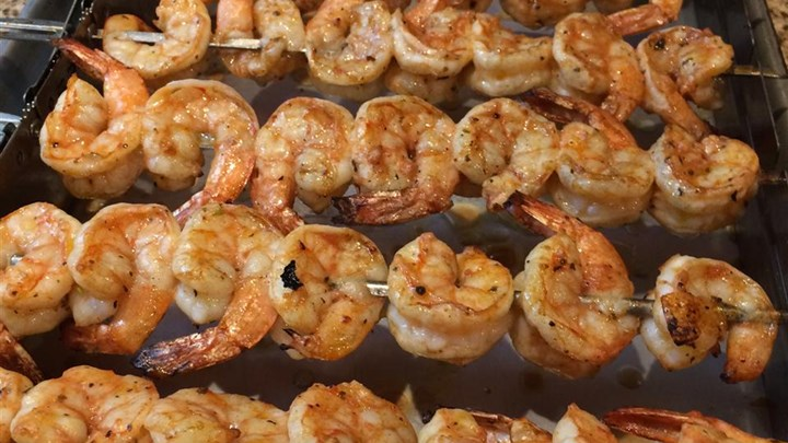 marinated shrimp on the grill