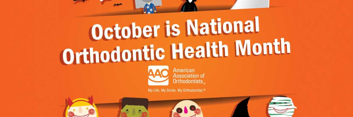 Cute Halloween monsters with text October is National Orthodontic Health Month