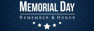 White text and stars on dark blue background that reads 'Memorial Day - Remember and Honor'