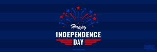 """White text reading """"Happy Independence Day"""" on dark blue striped background with red and lighter blue fireworks"""