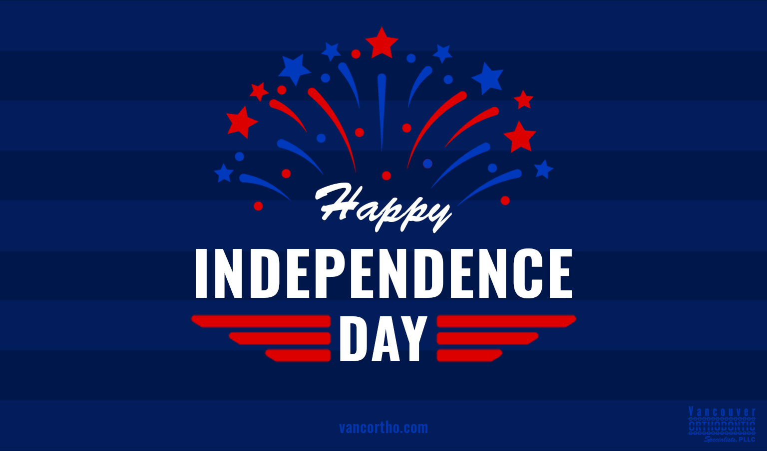 Happy Independence Day on dark blue striped background with red and blue fireworks