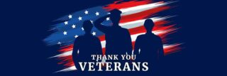 Silhouette of service people set against an American Flag in the background, with the words Thank You Veterans in the foreground
