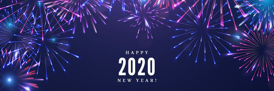 Fireworks with text Happy New Year 2020 on a dark blue background