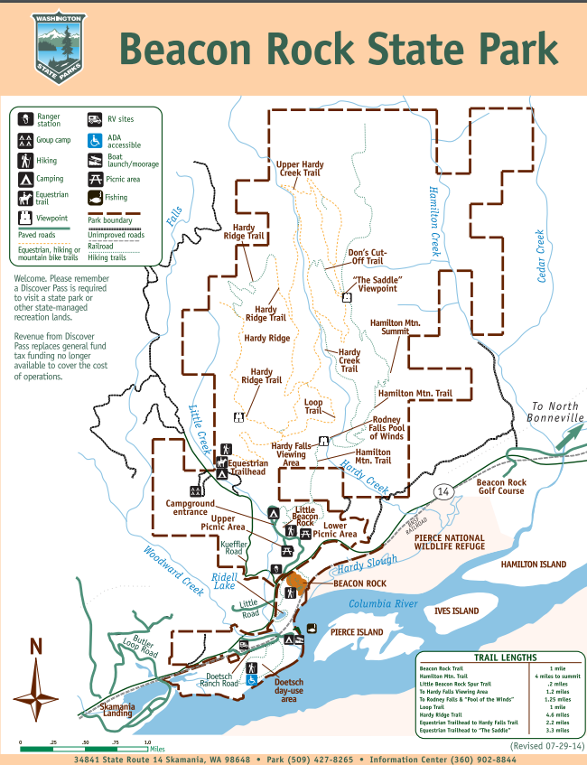 Map of Beacon Rock State Park