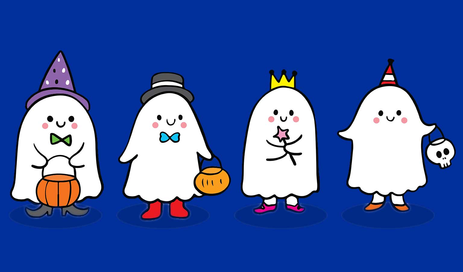 Booville at Vancouver Mall represented by 4 cute cartoon ghosts dressed up in costumes