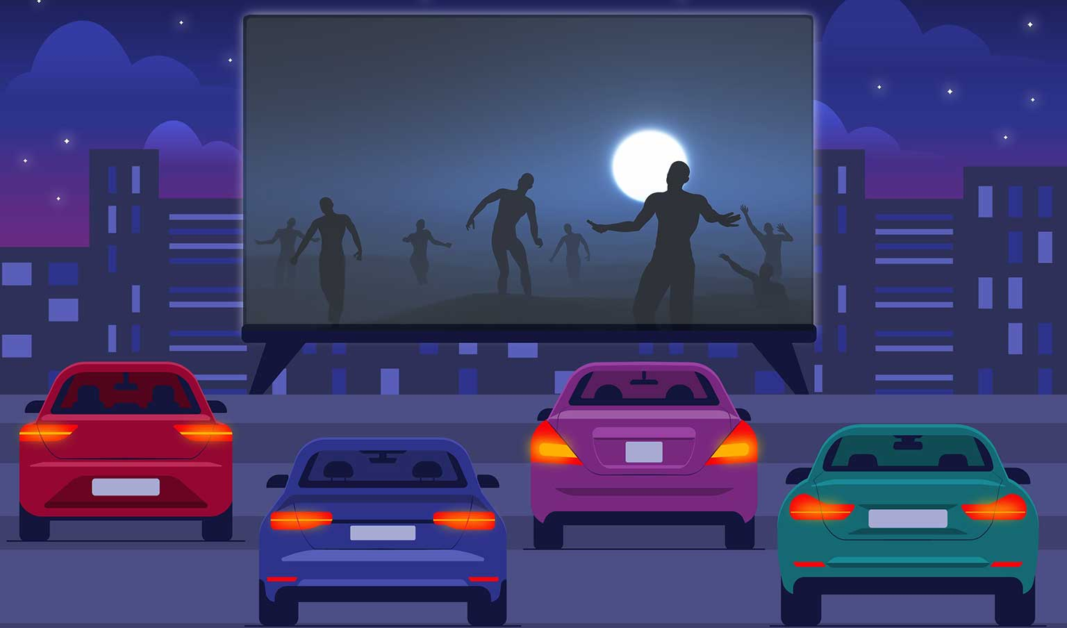 Cinema of Horrors in Vancouver WA represented by Illustrated drive-in movie theater with zombies on the screen