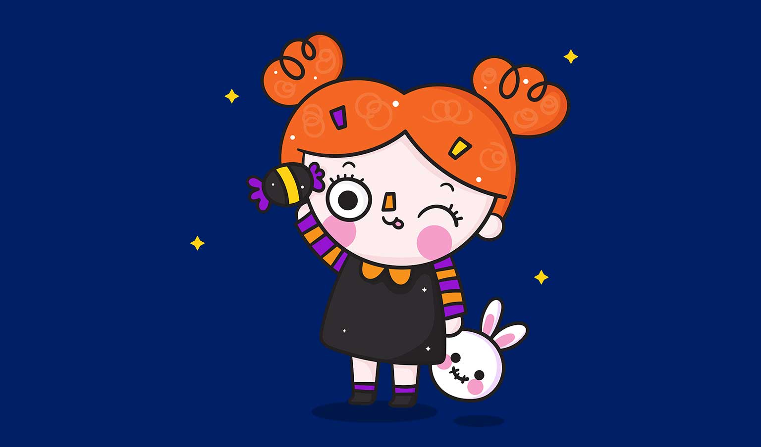 Halloween 2020 safety-cute cartoon girl with red hair holding candy