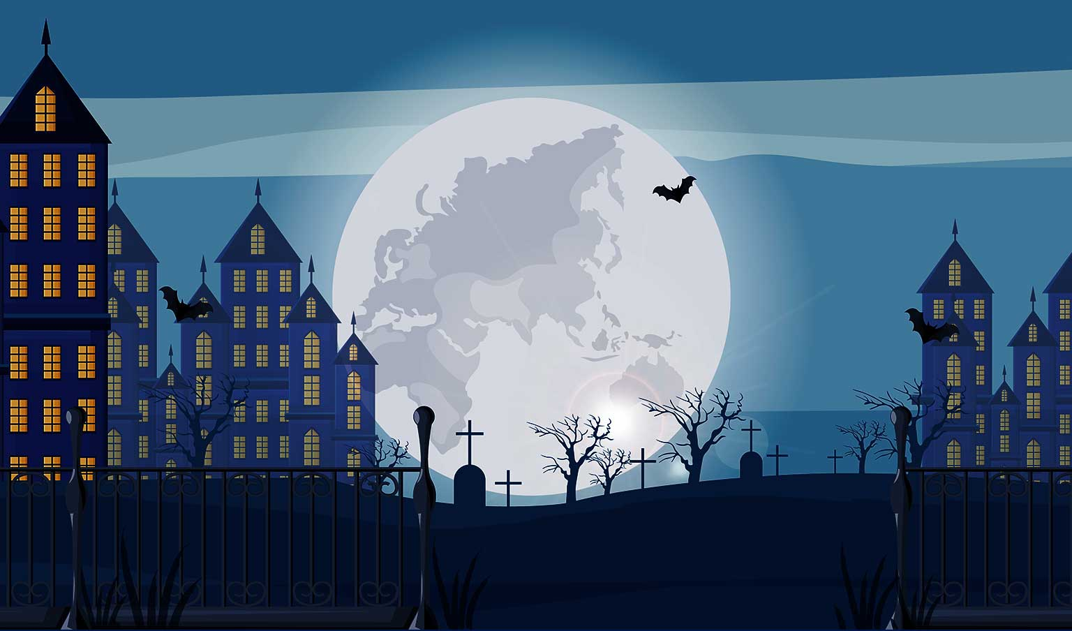 Creepy illustrated houses and graveyard against a night sky with a full moon representing the virtual haunted walking tours in Vancouver WA