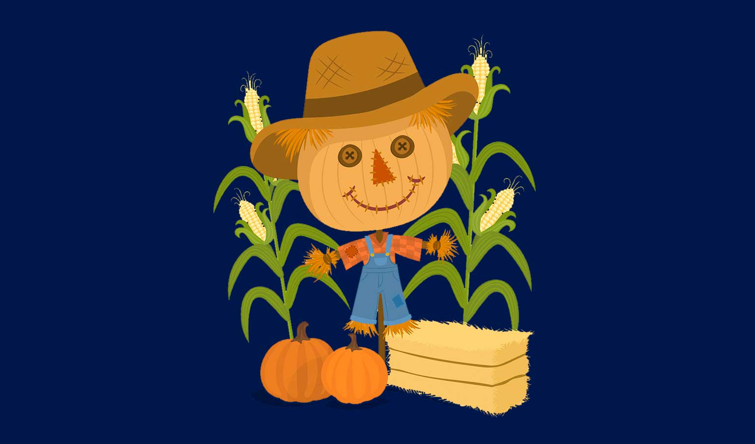 Pumpkin Patches near Vancouver WA represented by cute illustrated scarecrow with pumpkin head