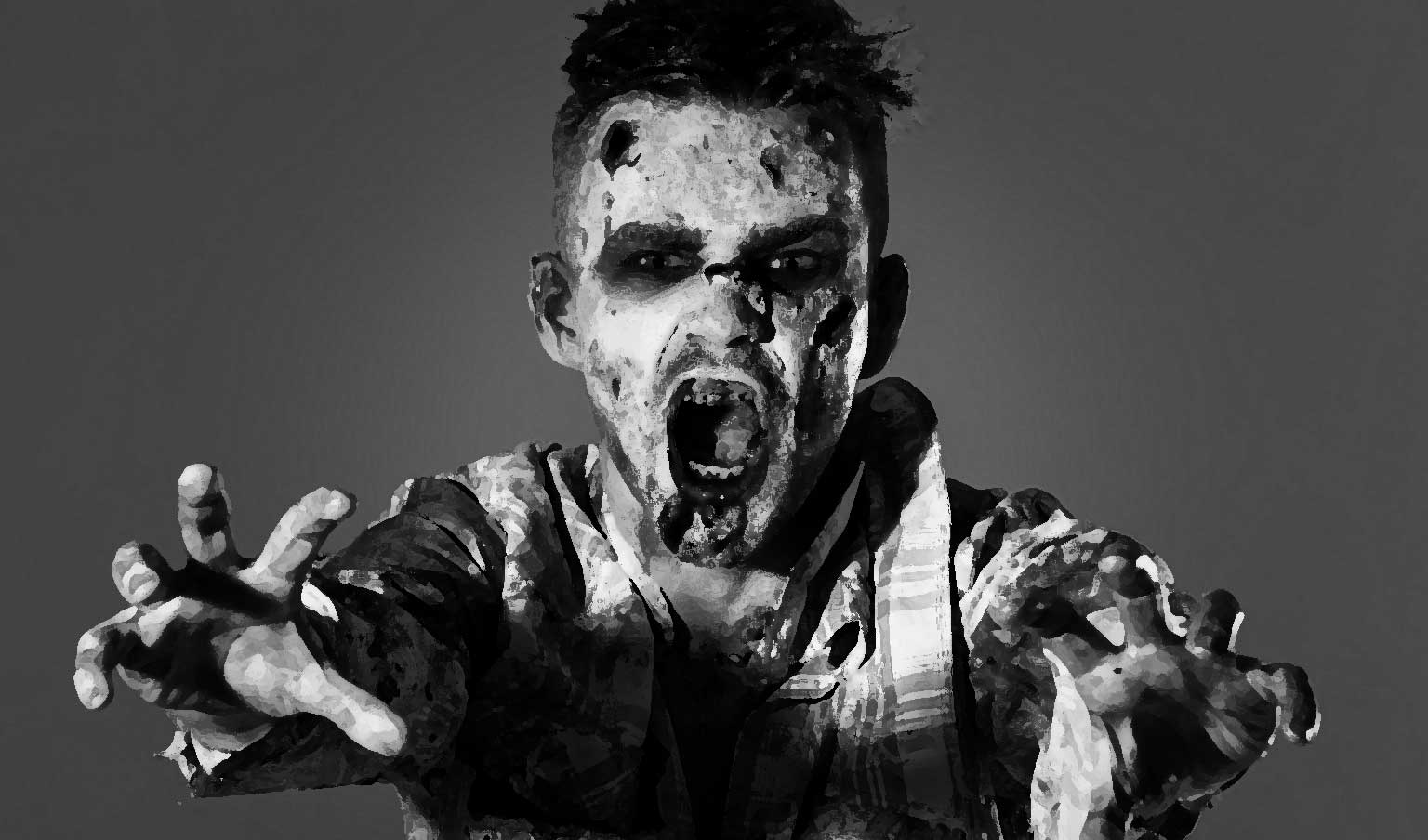 Painted black and white image of a zombie