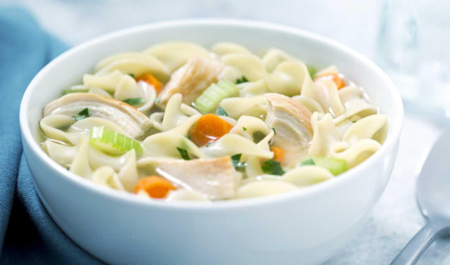 bowl of braces friendly chicken noodle soup