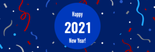 """blue circle in front of darker blue background with confetti that reads """"Happy New Year 2021!"""""""