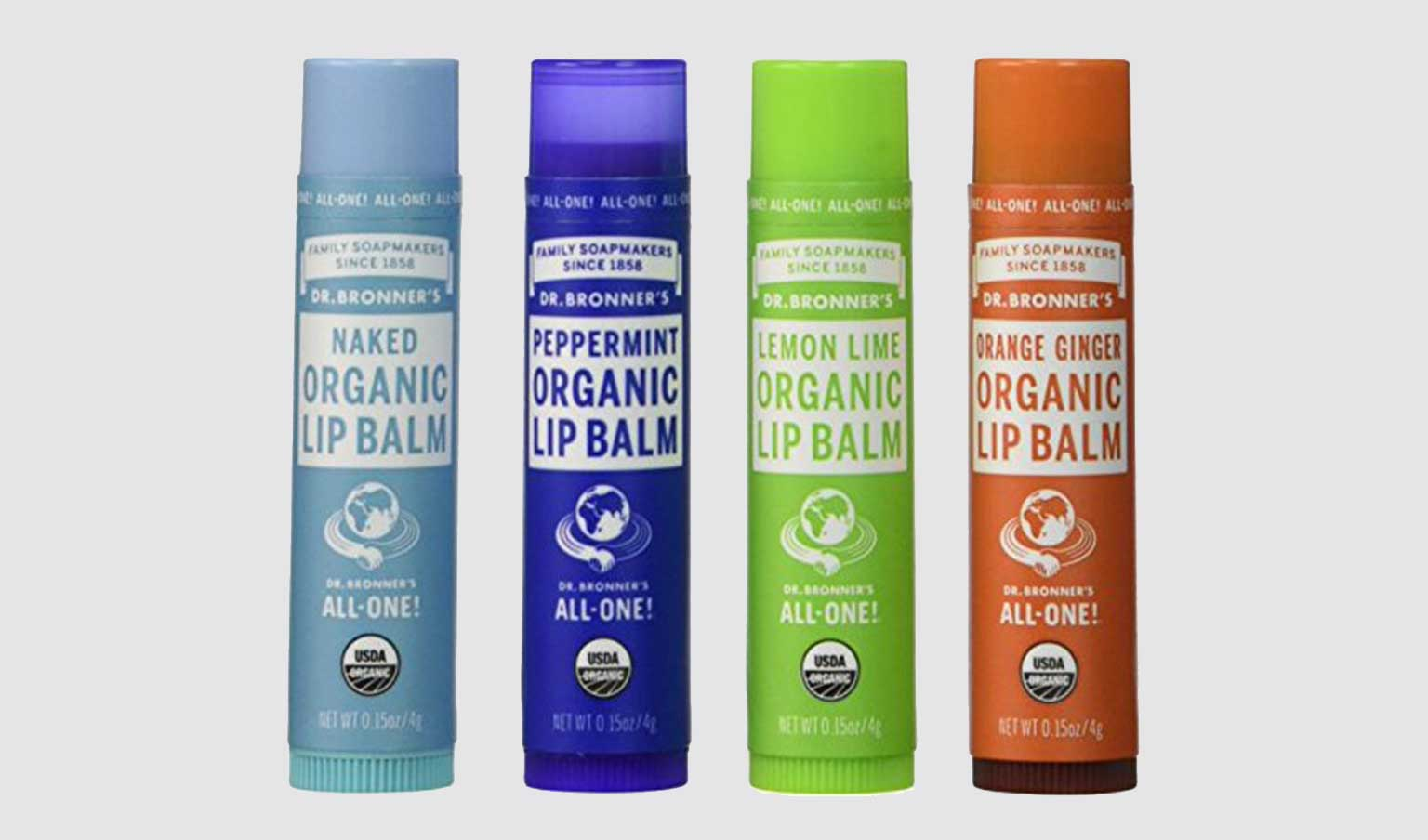 4 tubes of Dr. Bronner's lip balm