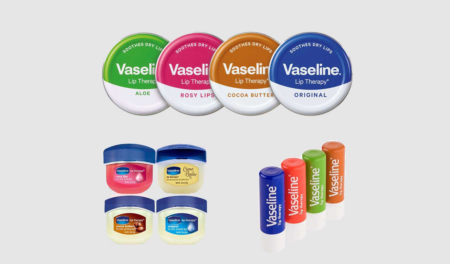 several varieties of Vaseline lip therapy displayed on a light background