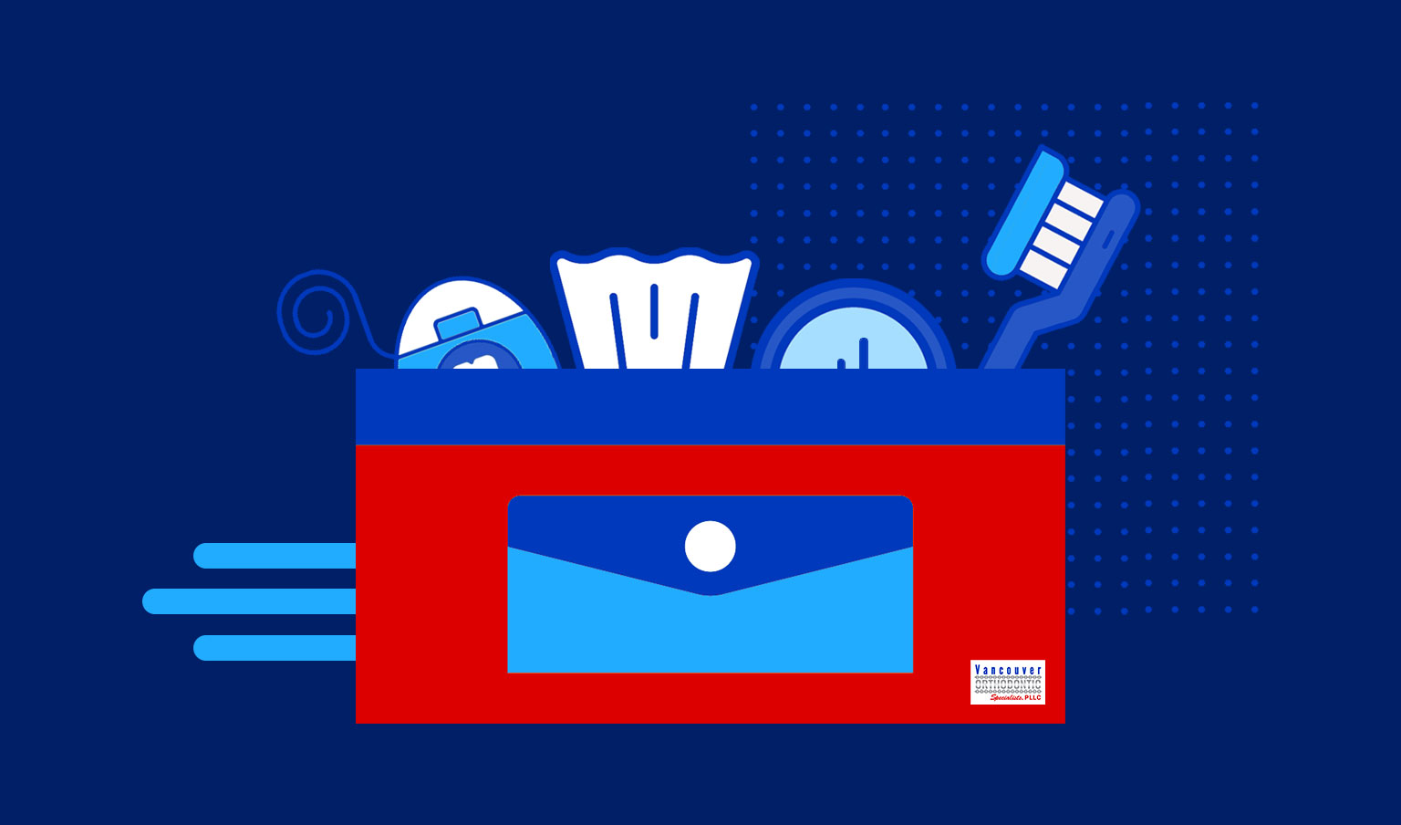 illustration of a colorful blue and red carrying case holding toothbrush, floss, tissue, and compact mirror for a braces survival kit