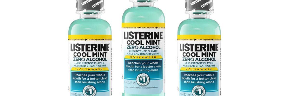 3 travel-sized bottles of Listerine alcohol-free mouthwash