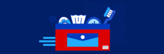 braces survival kit illustration on dark blue background featuring a bright red and blue carrying case iwth tissue, compact mirror, toothbraush, and floss
