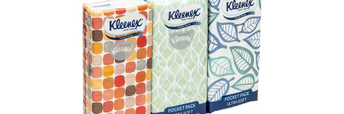 3 packs of Keenex brand pocket tissues arranged diagonally